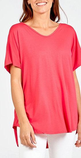 Short Sleeve Curve Cut Top -Hot Pink