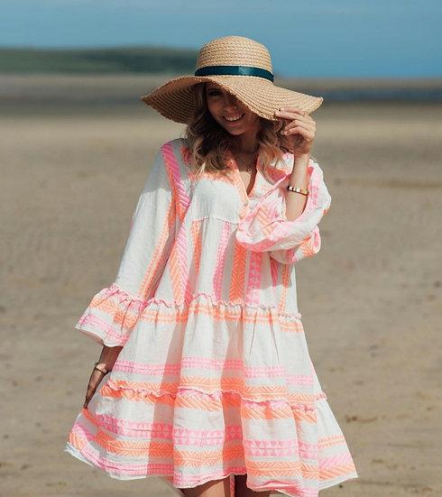 Luxury Aztec Smock Dress - Neon Coral/Pink