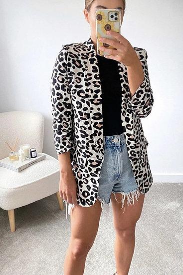 Beige Leopard Print Blazer