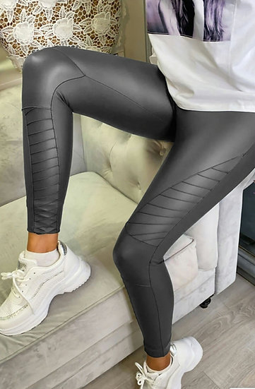 High Waist PU Biker Leggings -Charcoal 3 sizes