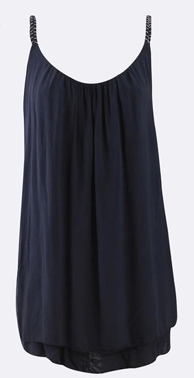 Plaited Strap Double Layer Floaty Cami -Navy