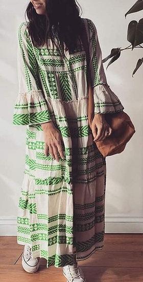 Luxury Aztec Smock Dress -Emerald Green