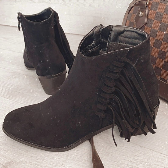 Black Fringed Boots