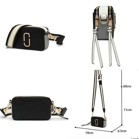 Double Zip Cross body Bag with Strap -Black