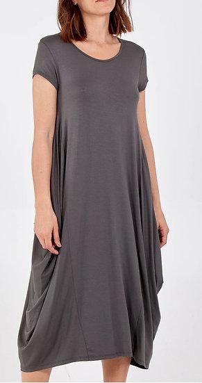Italian Cap Sleeve Parachute Dress -Charcoal grey