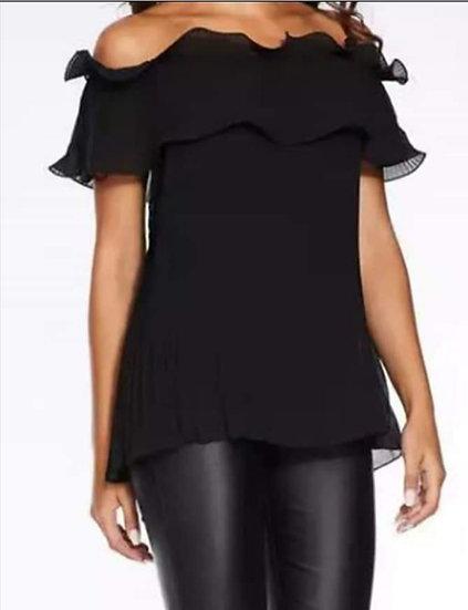 Italian bardot off the shoulder ruffle top -Black