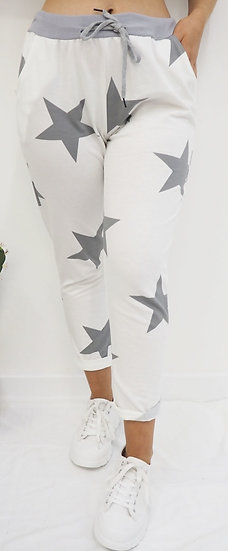 White Joggers with Grey Stars