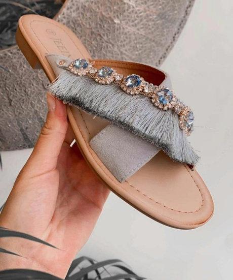 Fringed Crystal Sandals -Blue/Grey