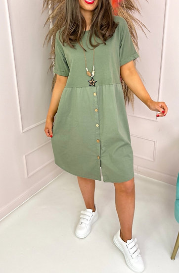 Button Tee Tunic Dress with Necklace -Khaki