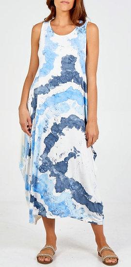 Italian Splash Tie Dye Parachute Dress -Denim Blue