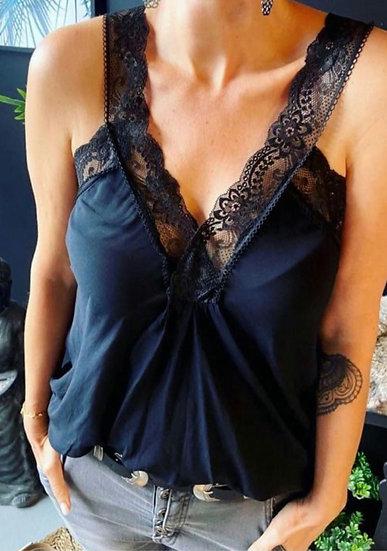 Lace Strap Cami Top -Black