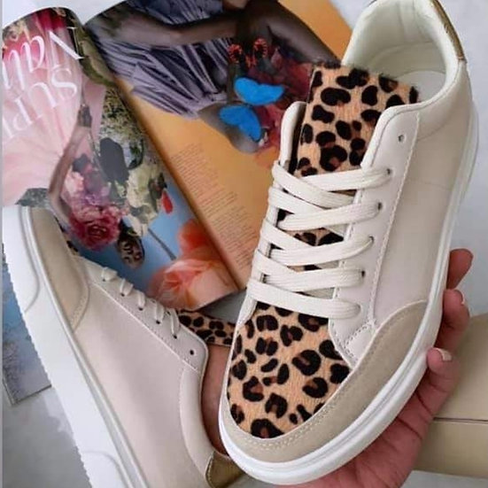 Leopard Print Trainers -Beige