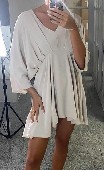 V Neck Tunic Top/Dress -Beige