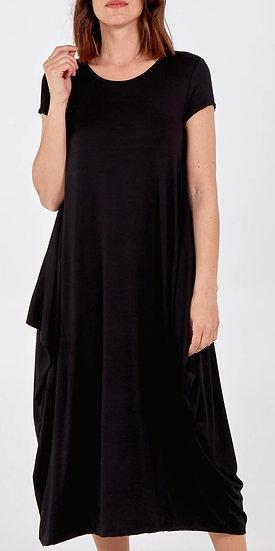 Italian Cap Sleeve Parachute Dress -Black