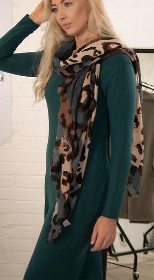 Brown & blue Large Leopard print scarf