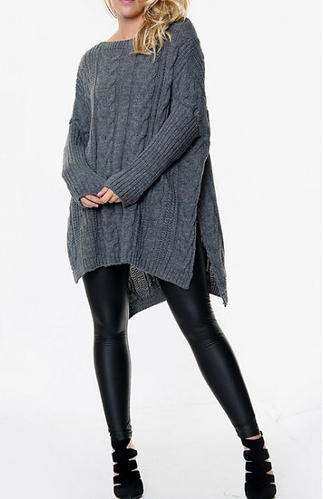 Oversized Longline Cable knit Jumper -Charcoal