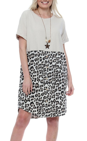 Button Tee Leopard Tunic Dress with Necklace -Beige