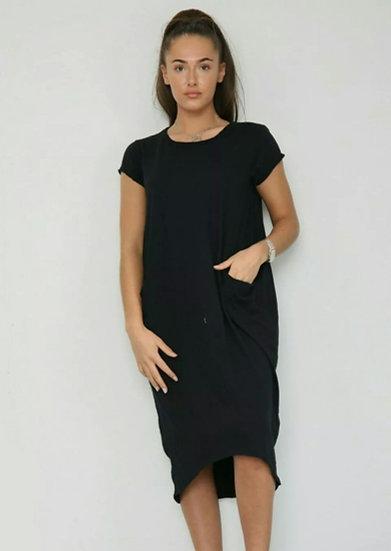 Front Pocket T shirt Dress -Black