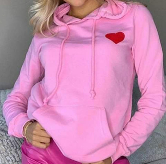 Pink Hoodie with red heart