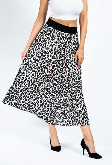 Leopard Print Pleated Maxi Skirt - Beige