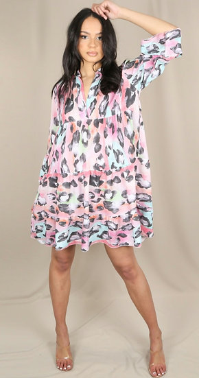 Abstract Leopard Print Smock Dress -Pink