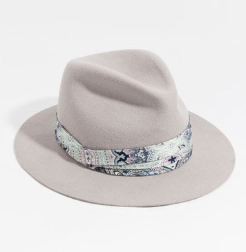 Boho Festival Style Fedora Hat with Satin Scarf Trim