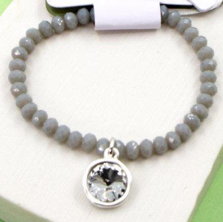 Cut Glass Beaded Bracelet With Crystal Charm -Grey