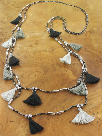 Tassel Boho Long Necklace -Black & Grey