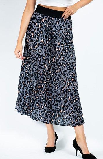 Leopard Print Pleated Maxi Skirt - Grey