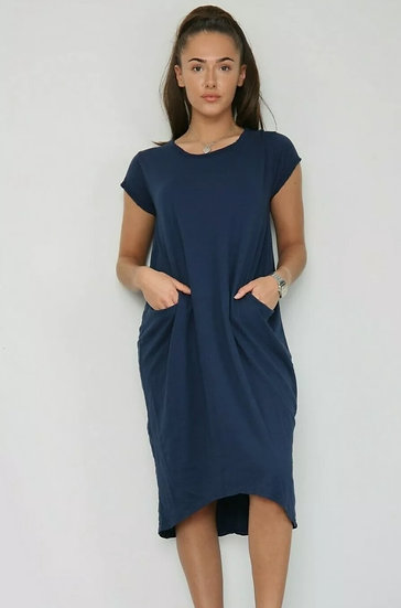 Front Pocket T shirt Dress -Navy