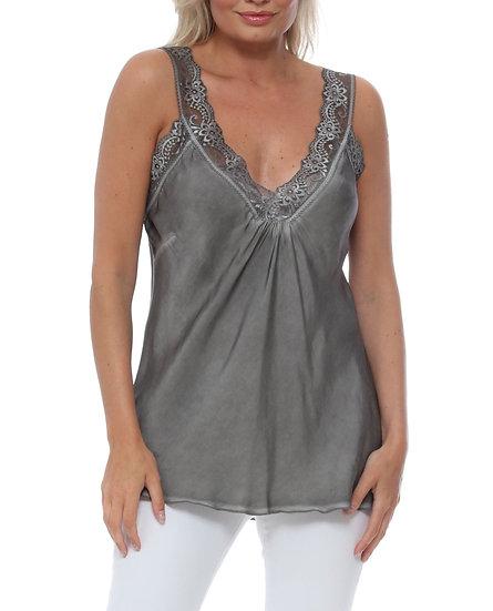 Lace Strap Cami Top -Grey