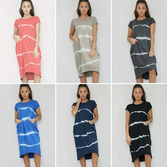 Front Pocket Tie dye T shirt Dress -Various