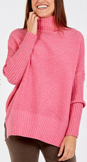 Knitted Cowl Neck Jumper -Hot pink