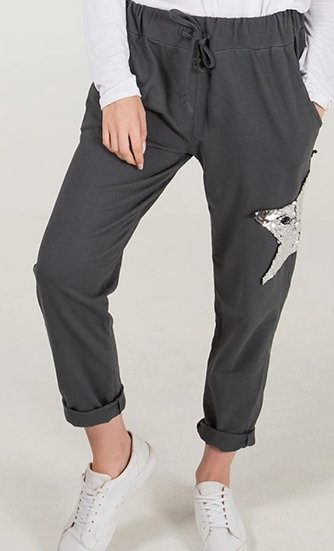 Sequin Star Joggers -Charcoal