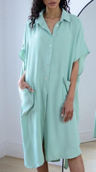 Oversized Shirt Dress -Pistachio