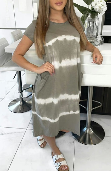 Front Pocket Tie dye T shirt Dress -Mocha