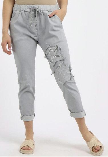 Italian Patch Star Magic Pants (10-14/16) - Silver grey