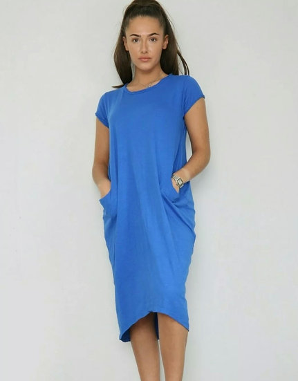 Front Pocket T shirt Dress -Cobalt Blue