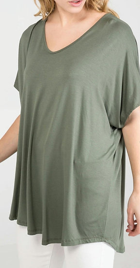 Short Sleeve Curve Cut Top -Khaki
