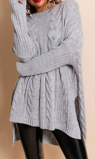 Oversized Longline Cable knit Jumper -Grey