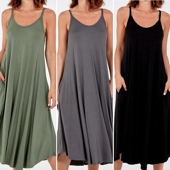Italian Scoop Neck Midi Dress -Various