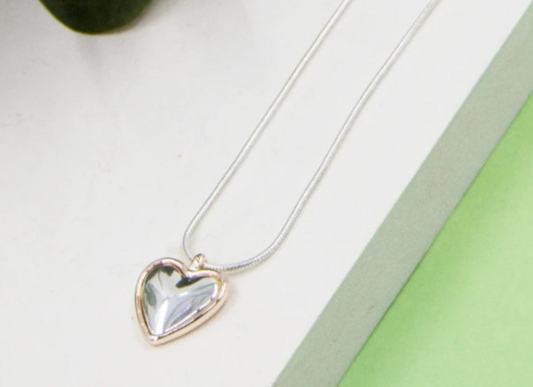Heart Necklace on snake chain