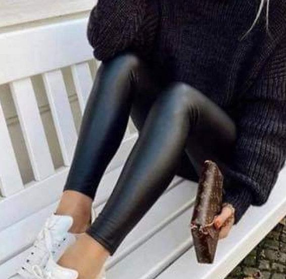 Black PU Wet Look Leggings