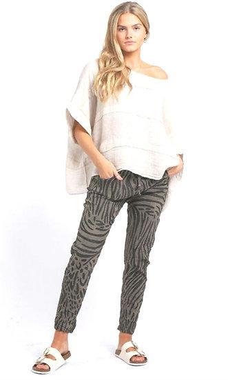 Italian Zebra Print Magic Pants -Mocha
