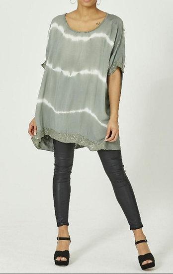 Tie Dye Sequin Edge Top -Khaki