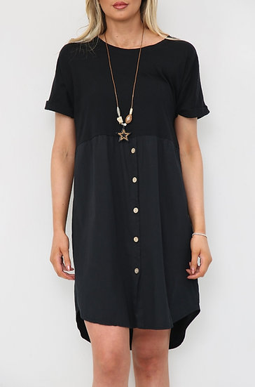 Button Tee Tunic Dress with Necklace -Black