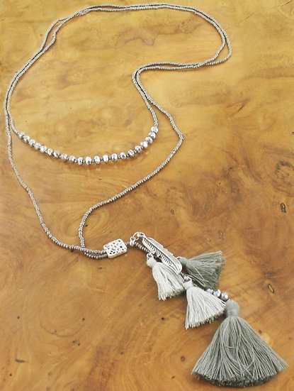 Long Statement Tassel & Feather Necklace -Grey