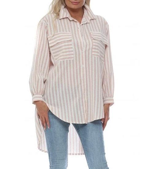 Italian Oversized Stripe Shirt -Pale Pink