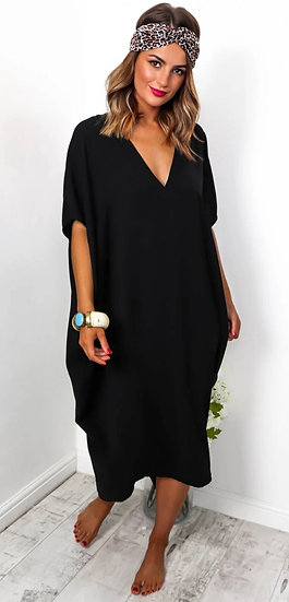 Oversized V Neck Midi Dress -Black