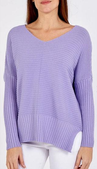 Rib Knit V Neck Jumper -Lilac